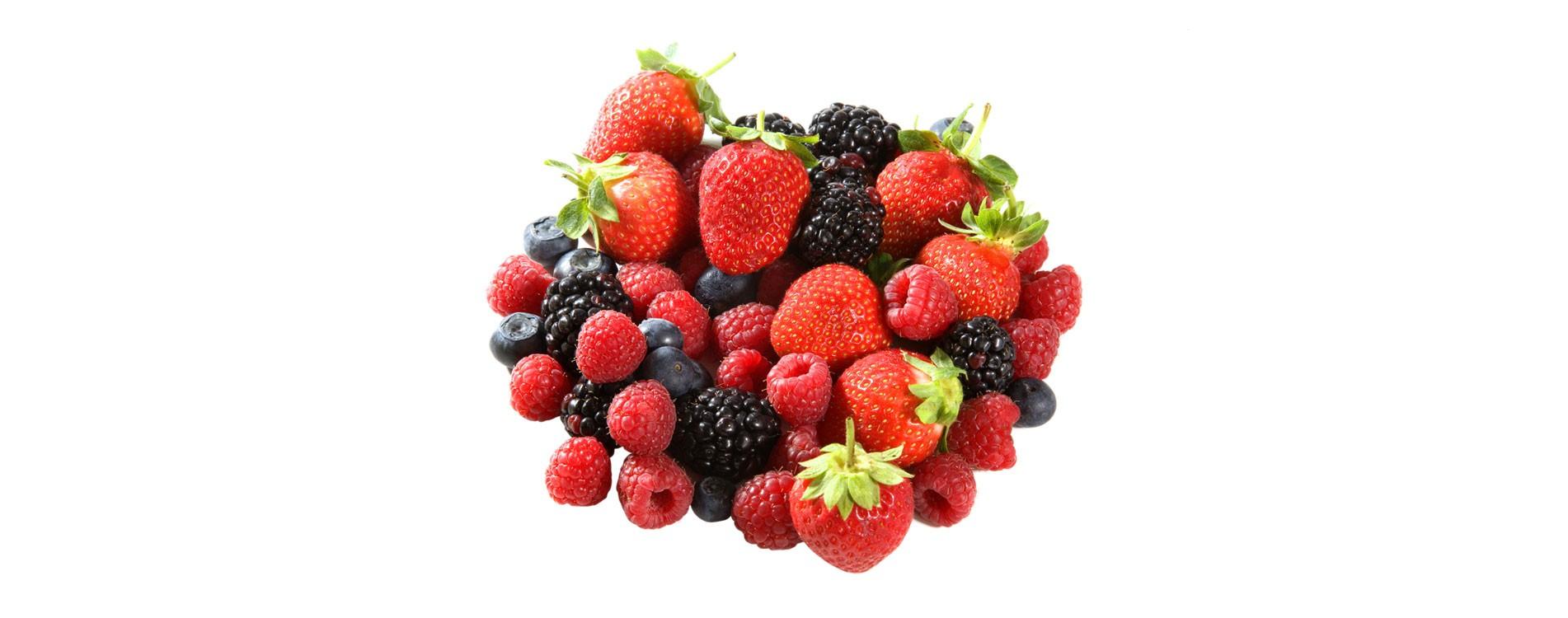 Fresas, frambuesas, arándanos y moras